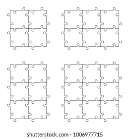 A lot of piece flat puzzle presentation. Many step puzzles business background. Simple pattern. Section compare service banner. Vector puzzle illustration template simple shape. 3d Abstract Background