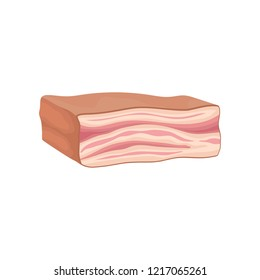 Piece of fresh lard. Slab of tasty smoked bacon. Meat product. Food icon. Flat vector design