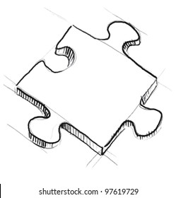 Piece of jigsaw puzzle. Sketch vector illustration