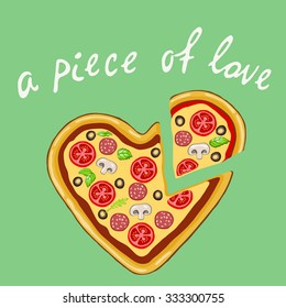 A piece of love. Vector image of a pizza in a heart shape on a mint background
