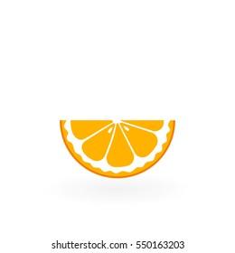 Piece of orange isolated on white.