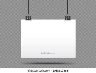 Piece of paper hanging in holders with shadow on transparent background. Empty white horizontal poster template in clamp hang on the black cord