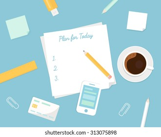 Piece of Paper with Plan Your Day Sign, Morning Coffee Cup and Stationery Objects. Managing Your Day Illustration in Flat Design.