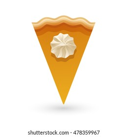 A piece of pumpkin or carrot pie served with whipped cream on the top. Top view vector illustration perfect for location icon.