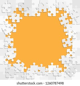 Piece puzzle background, banner, blank. Vector jigsaw section template isolated. Background with puzzle grey mosaic, details, tiles, parts. Square outline pattern jigsaw. Game group detail.