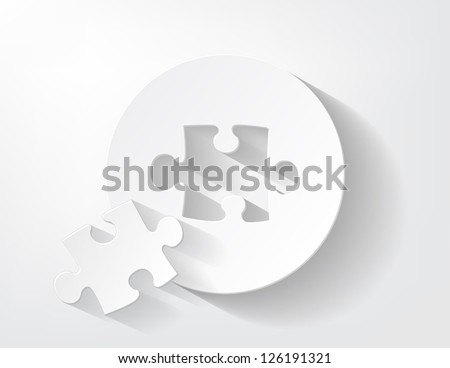 Piece Of Puzzle Cut Out From A Paper With Nice Shadow