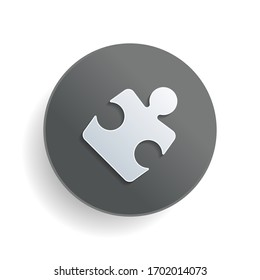 Piece of puzzle, sign of logic, simple icon. White paper symbol on gray round button or badge with shadow