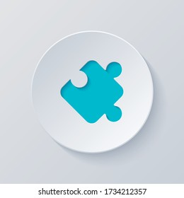 Piece of puzzle, sign of logic, simple icon. Cut circle with gray and blue layers. Paper style