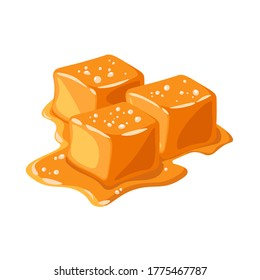 Piece of salted caramel isolated on white background. Melted appetizing caramel cubes. Vector illustration.