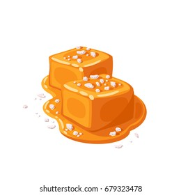 Piece of salted caramel .Vector illustration flat icon isolated on white.