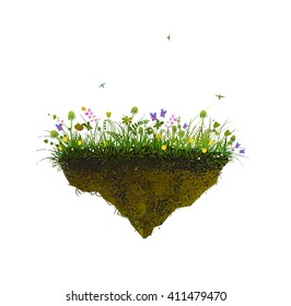 piece of summer, flowers and butterfly on a flying rock on the white background,  vector