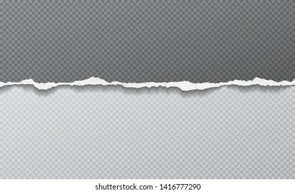 Piece of torn horizontal paper strip is on grey squared background. Vector illustration