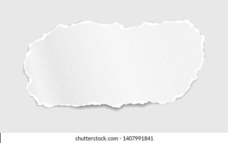 Piece of torn, ripped grainy white paper strip with soft shadow is on white background. Vector template illustration