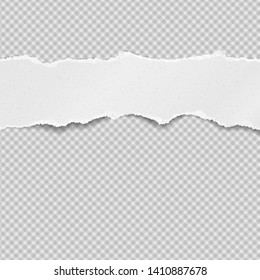 Piece of torn, ripped grainy white paper strip with soft shadow is on squared background. Vector template illustration