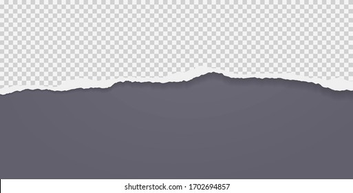 Piece of torn squared horizontal paper with soft shadow stuck on black background. Vector illustration