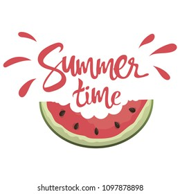 "Piece of watermelon with the inscription ""Hello summer time."" Illustration with juicy fruit. A drawing with the symbol of summer."