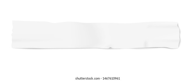 Piece of white adhesive masking duct tape, blank used insulation strip in long thin line with wrinkled realistic texture for textured background, isolated vector illustration