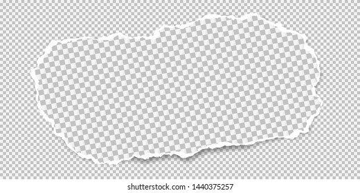 Piece of white squared torn paper strip with soft shadow is on white squared background. Vector illustration