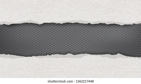 Piece of white torn recycle horizontal paper strips is on black background. Vector template illustration
