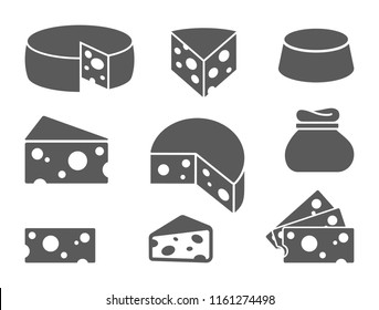 Pieces of cheese icons on white background. Different cheese types in flat style. Vector illustration.