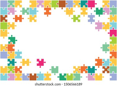 Pieces of colorful puzzles (mosaic) in disassembled form. Team, connection, merge.
