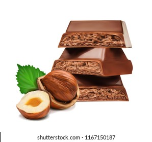 pieces of dark chocolate with hazelnuts on a white background