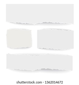 Pieces of paper with torn edges. Rectangular and square shapes. Vector image isolated on white background.