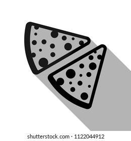 pieces of pizza icon. Black object with long shadow on white background