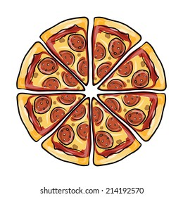 Pieces of pizza, sketch for your design
