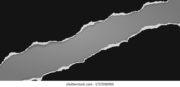 Pieces of torn black diagonal paper with soft shadow stuck on dark grey background. Vector illustration