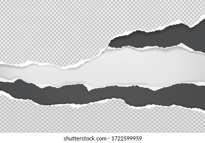 Pieces of torn black and white squared paper with soft shadow stuck on white background. Vector illustration