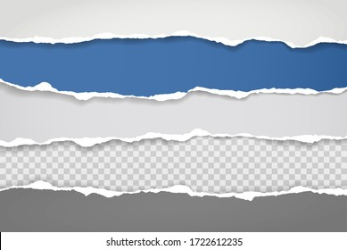 Pieces of torn blue and white paper with soft shadow stuck on white squared background. Vector illustration
