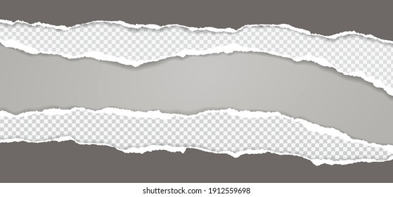 Pieces of torn, ripped dark and squared paper with soft shadow are on grey background for text. Vector illustration