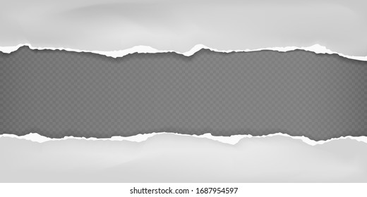 Pieces of torn white horizontal crumple paper with soft shadow stuck on black squared background. Vector illustration