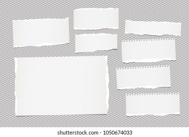 Pieces of torn white lined and blank note, notebook paper sheet for text stuck on squared gray background.