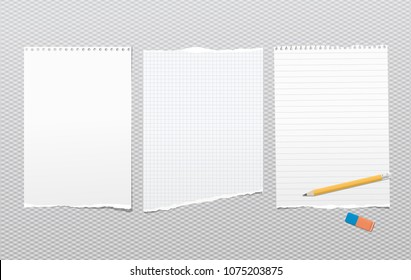 Pieces of torn white lined, blank note, notebook paper sheets for text stuck on squared background with pencil, eraser