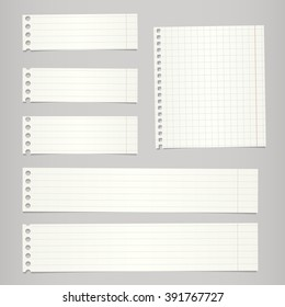 Pieces of torn white lined, squared blank notebook paper are stuck on gray background