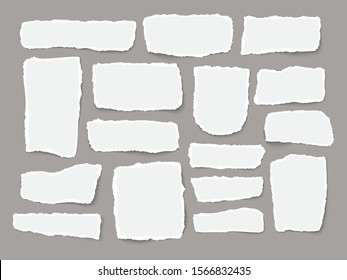 Pieces of torn white note paper different shapes isolated on gray background realistic vector illustration