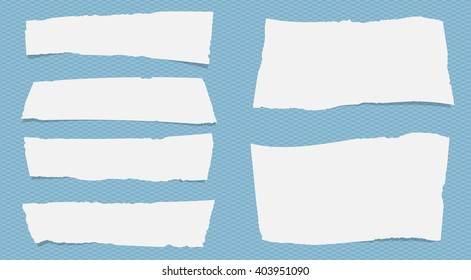 Pieces of torn white note paper with copy space are stuck on squared blue pattern