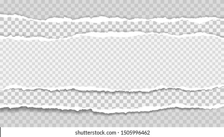 Pieces of torn, white squared realistic horizontal paper strips with soft shadow are on grey background. Vector illustration
