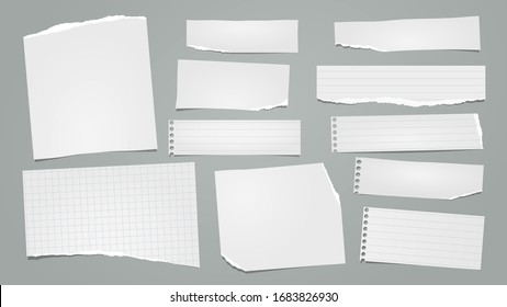 Pieces of white note, notebook paper strips stuck on grey background. Vector illustration