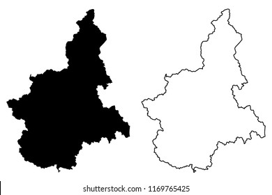 Piedmont (Autonomous region of Italy) map vector illustration, scribble sketch Piemonte map