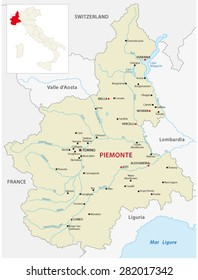 Piedmont Map with outline map Italy