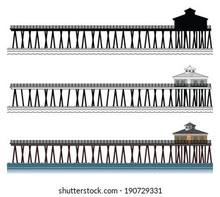 Pier is an illustration of a three piers in silhouette, in black and white lines and in color.