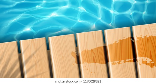 Pier with wooden boards at ocean. Sea wood dock with palm shadow and fluid stain, water rippled surface with sun reflection, clean and bright aqua. Marine and beach, aquatic and tropical theme