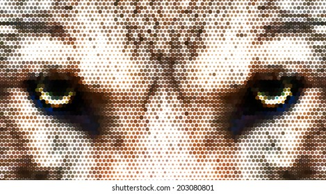 A piercing hypnotic look straight into your soul of a severe wolf female. Menacing expression of the european wolf, very beautiful animal and extremely dangerous beast. Amazing dotted vector image.