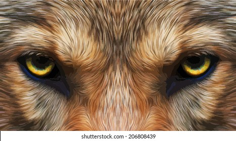 Piercing hypnotic look of a wolf. Menacing expression of the very beautiful animal and extremely dangerous beast. Amazing vector image in oil painting style. Great for user pic, icon, label, tattoo.