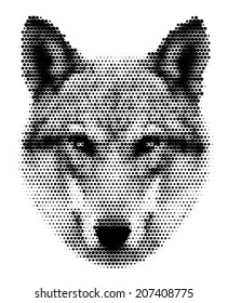 Piercing look of severe wolf, isolated on white background. European wolf, beautiful animal and dangerous beast. Amazing black and white dotted vector image, great for user pic, icon, label or tattoo.
