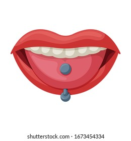Piercings of tongue vector icon.Cartoon vector icon isolated on white background piercings of tongue.