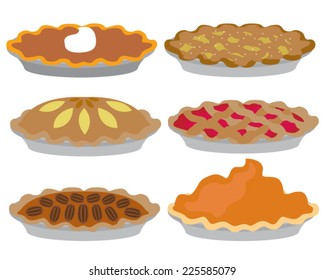 Pies Vector Illustration.Thanksgiving and Holiday Pumpkin Pie.
